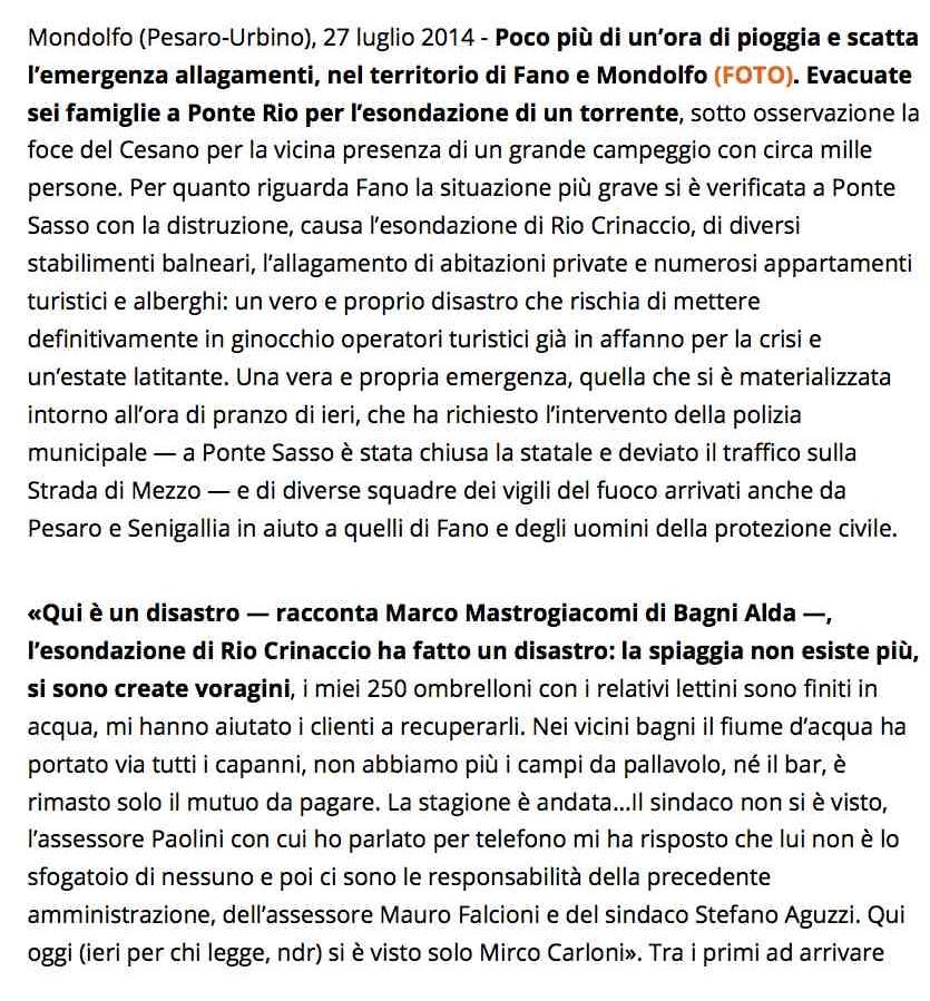Maltempo, nubifragio tra Fano e Mondolfo: famiglie evacuate a Ponte Rio - Fano - il Resto del Carlino - Notizie di Bologna e dell'Emilia Romagna, di Ancona e delle Marche 1