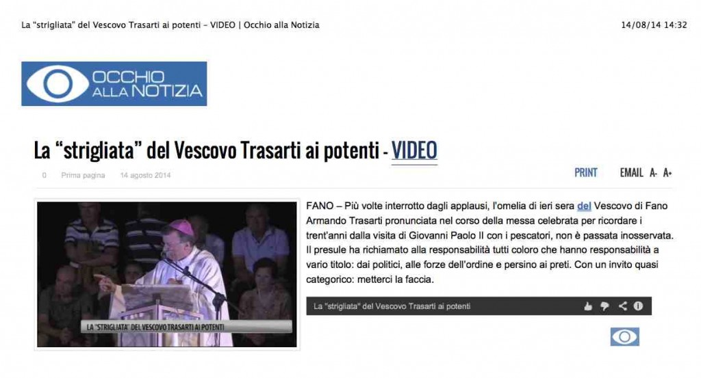 """La """"strigliata"""" del Vescovo Trasarti ai potenti – VIDEO   Occhio alla Notizia 2"""