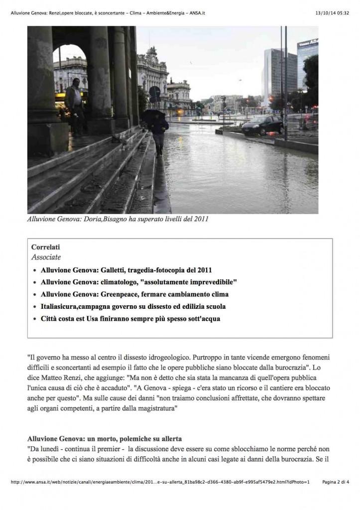 1Alluvione Genova: Renzi,opere bloccate, è sconcertante - Clima - Ambiente&Energia - ANSA.it