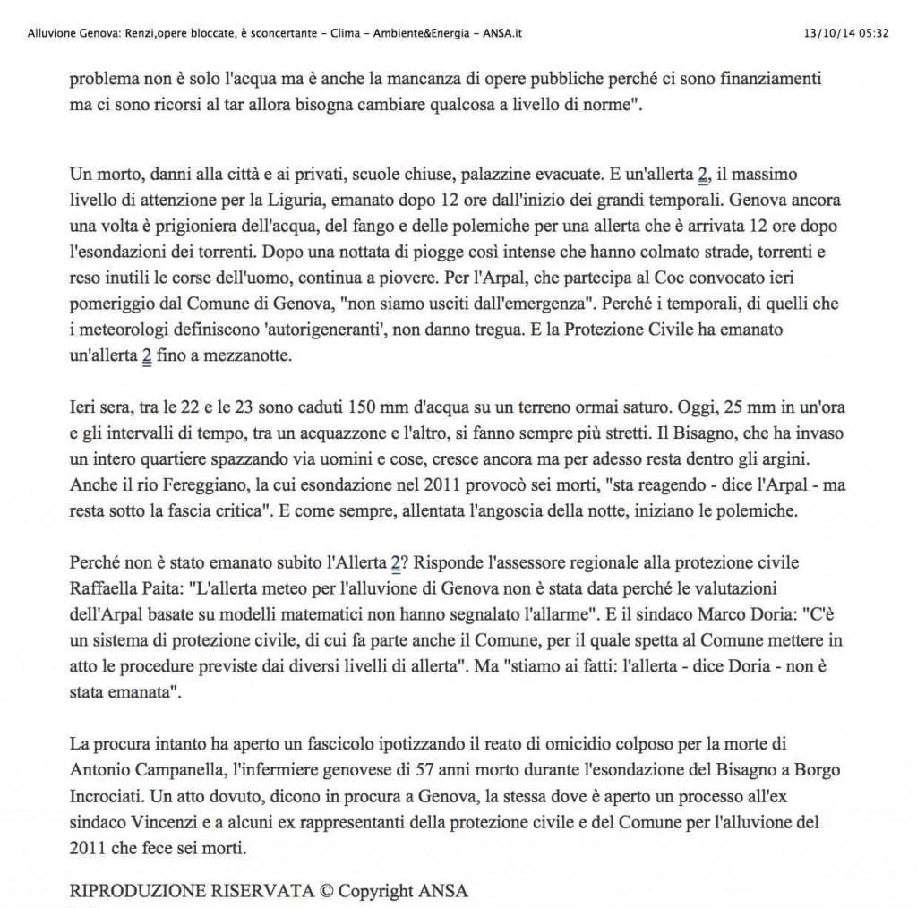 3Alluvione Genova: Renzi,opere bloccate, è sconcertante - Clima - Ambiente&Energia - ANSA.it