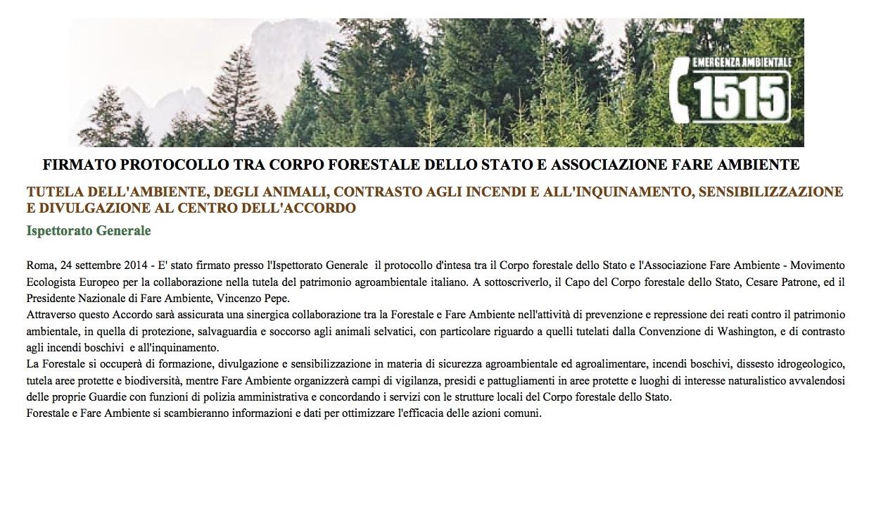 Corpo Forestale dello Stato - FIRMATO PROTOCOLLO TRA CORPO FORESTALE DELLO STATO E ASSOCIAZIONE FARE AMBIENTE - Versione stampabile 2