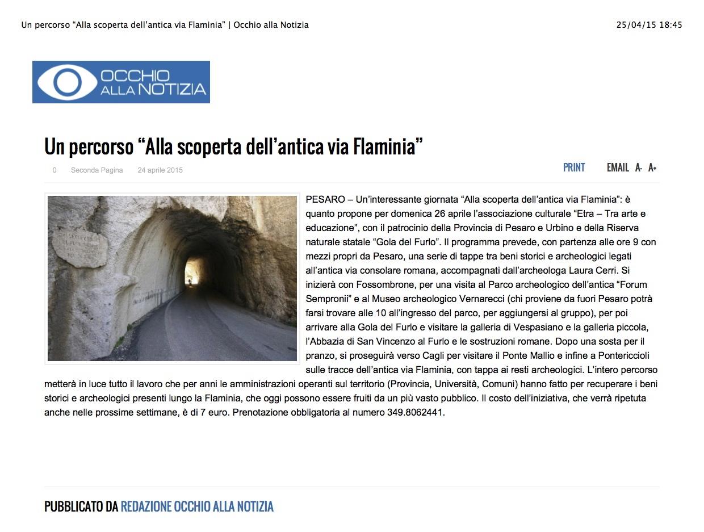 """Un percorso """"Alla scoperta dell'antica via Flaminia""""   Occhio alla Notizia 2"""
